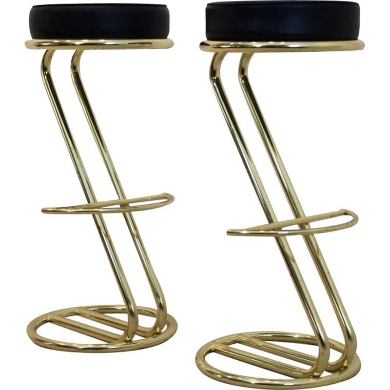 Pair of Vintage Brass Bar Stools with Black Leather seat, 80s