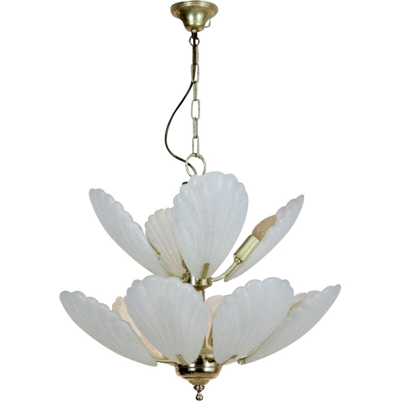 French Chandelier in Brass with Murano Glass Shells, 1970s