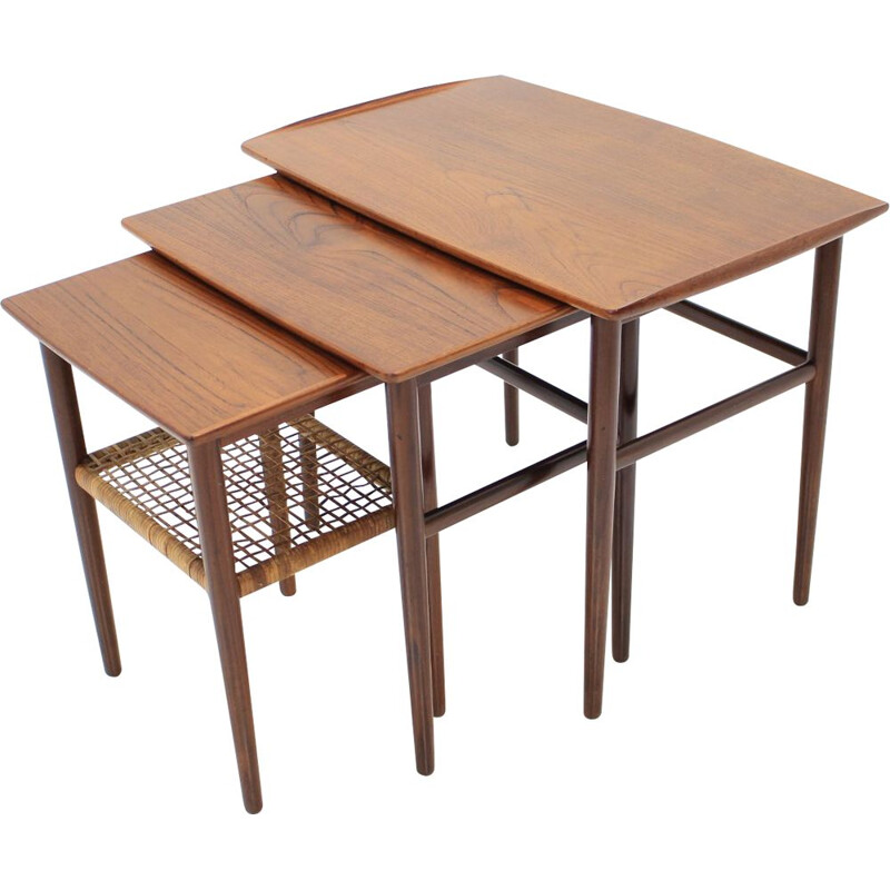 Vintage german nesting tables in teak 1960