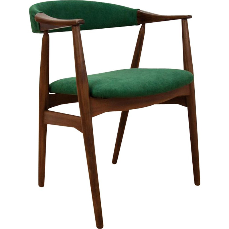Vintage teak chair by Harlev for Farstrup in teak and green fabric 1960