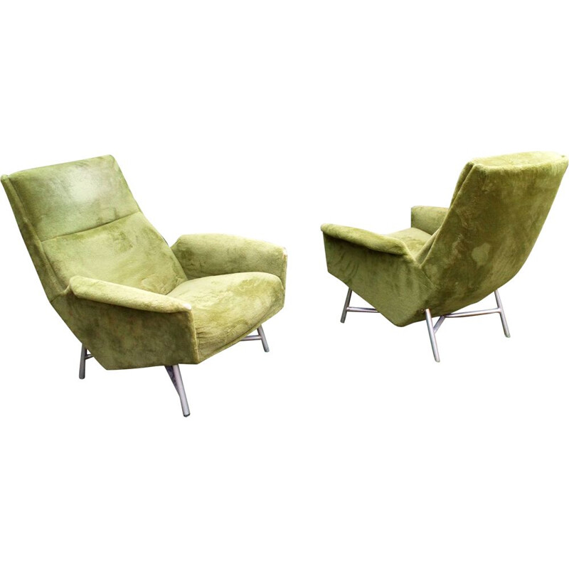 Pair of vintage armchairs for Claude Delor in velvet 1950