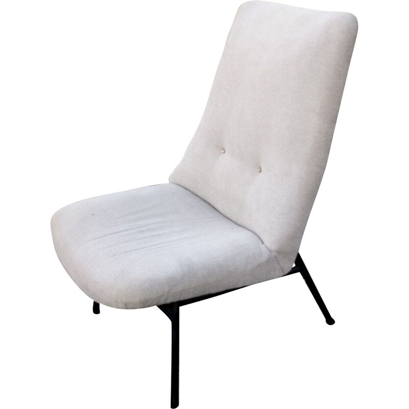 Vintage SK660 low chair without arms for Steiner in gray fabric 1950