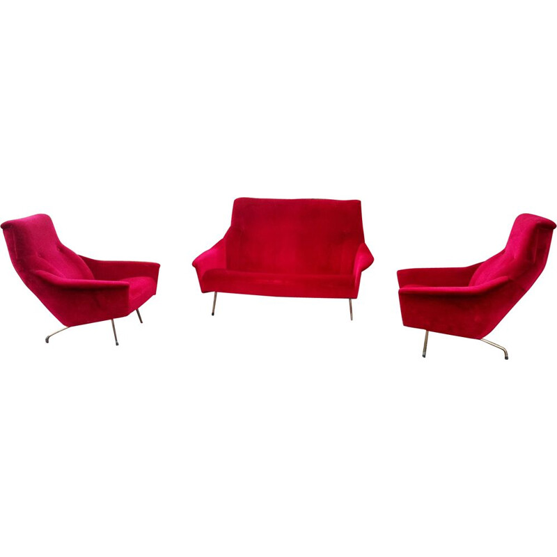 Vintage living room by Besnard in red velvet 1960