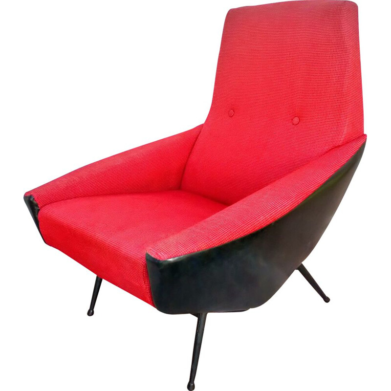 French vintage armchair by Guy Besnard in red wool 1960