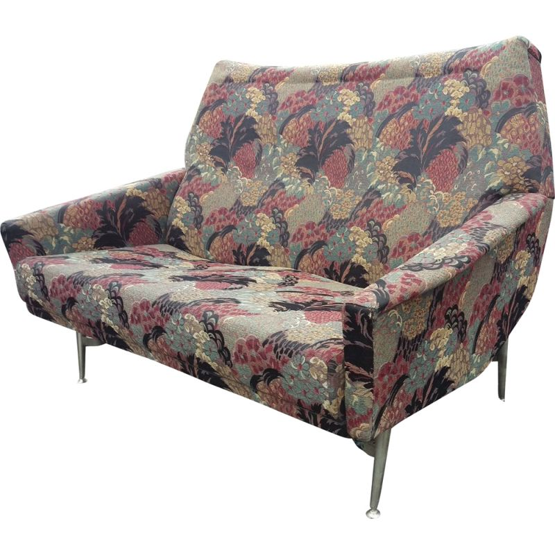 Vintage french sofa by Besnard in multicolor floral fabric 1950