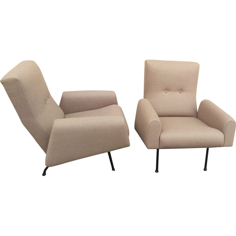 Pair of vintage Concerto armchairs for Zol in brown wool 1950