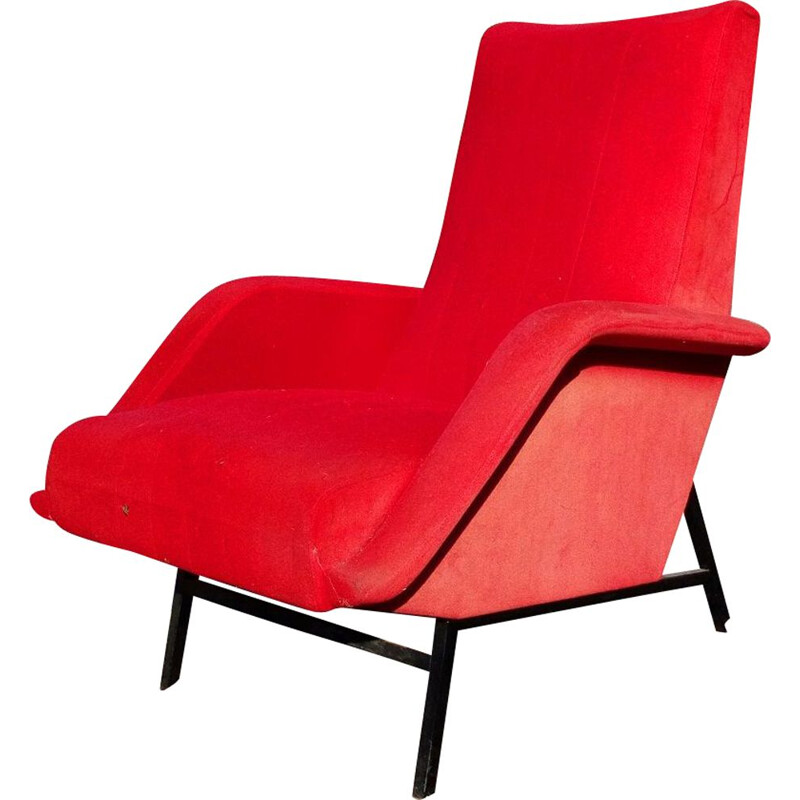 French vintage armchair by Guy Besnard in red fabric 1950