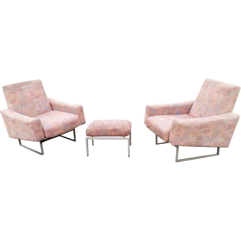 Pair of french vintage armchairs in pink fabric with footrest 1950