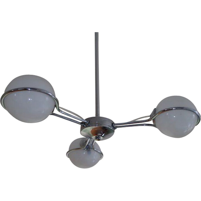 Vintage italian Space Age chandelier in metal and glass 1970