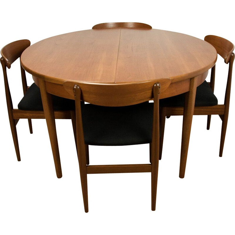 Vintage dining set in teak and black fabric 1960