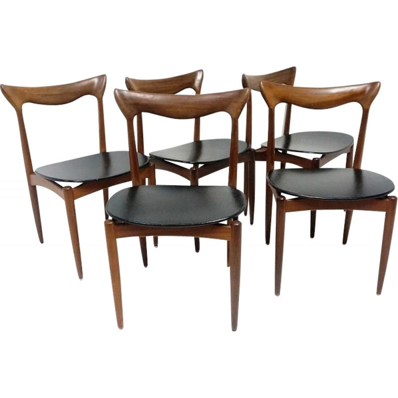 Set of 5 chairs in teak for Bramin