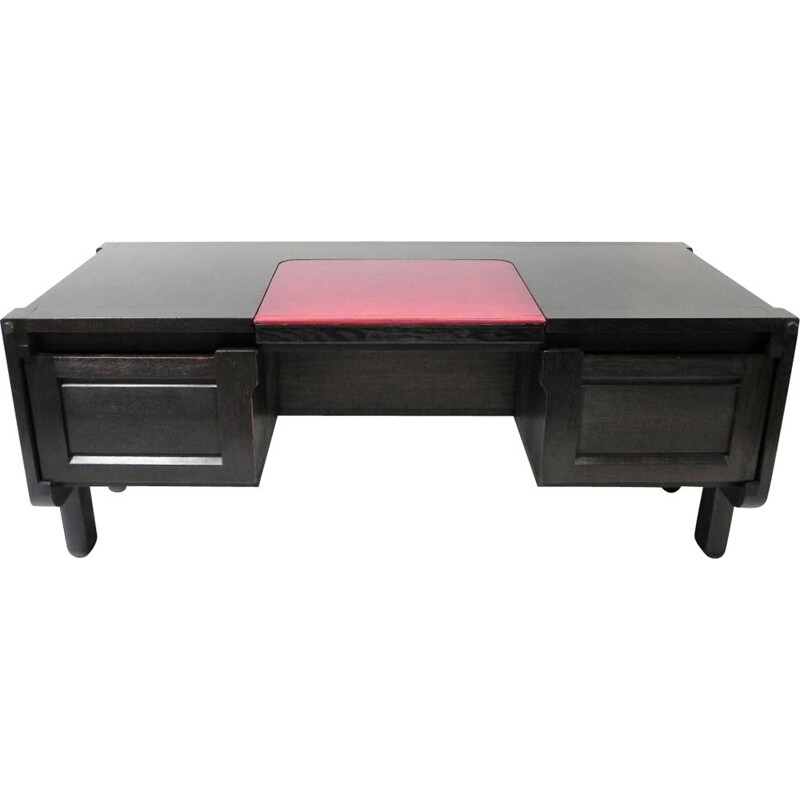 Minister desk in black oak by Guillerme and Chambron