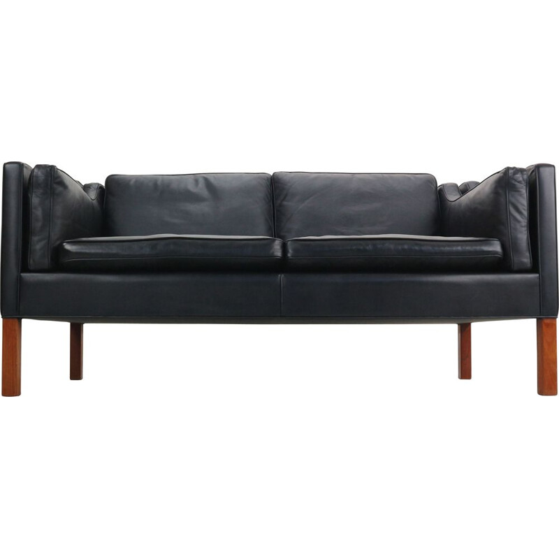 2-seater sofa in black leather by Børge Mogensen for Fredericia