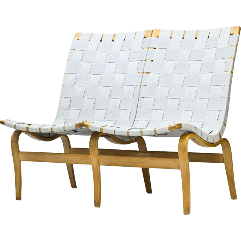 Vintage bench in Birch & Linen Webbing, by Bruno Mathsson, Sweden, 1969