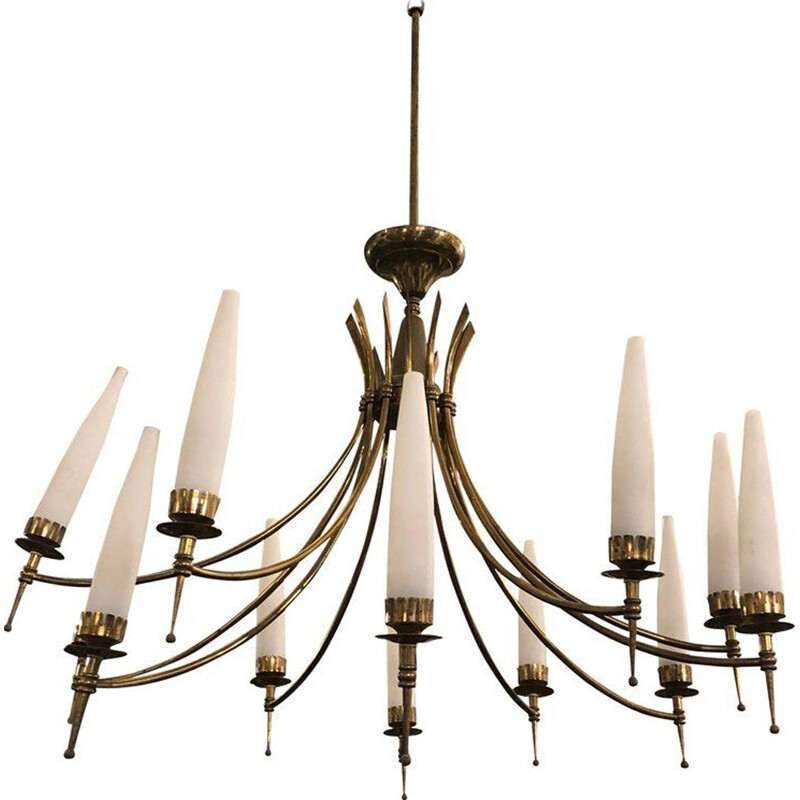 12-arm Italian chandelier in brass