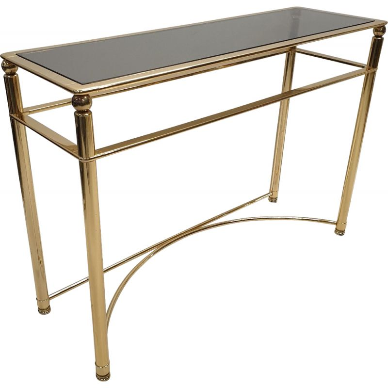 Italian console in brass and glass