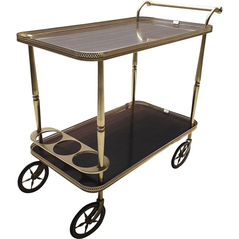 Vintage serving trolley in brass