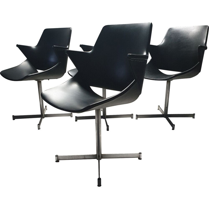 Set of 4 leatherette chairs by Geoffrey Harcourt for Artifort