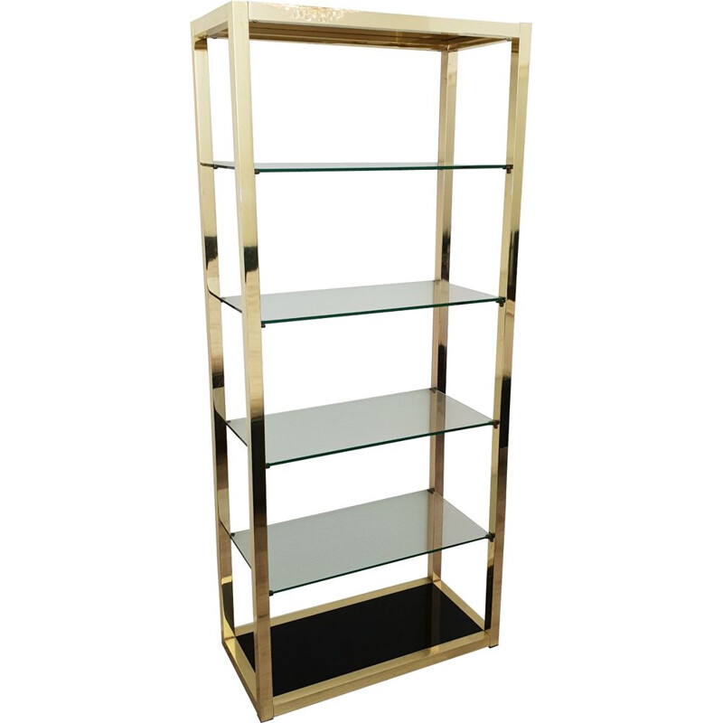 Vintage Italian gold plated shelving unit with clear and black glass