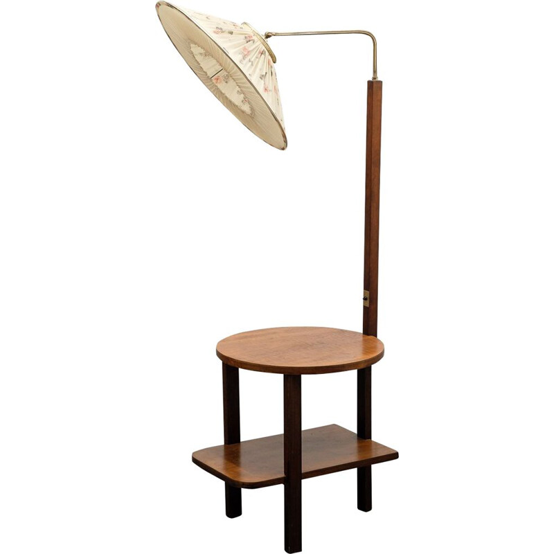 Vintage floor lamp with side table, dark beech, 1950s