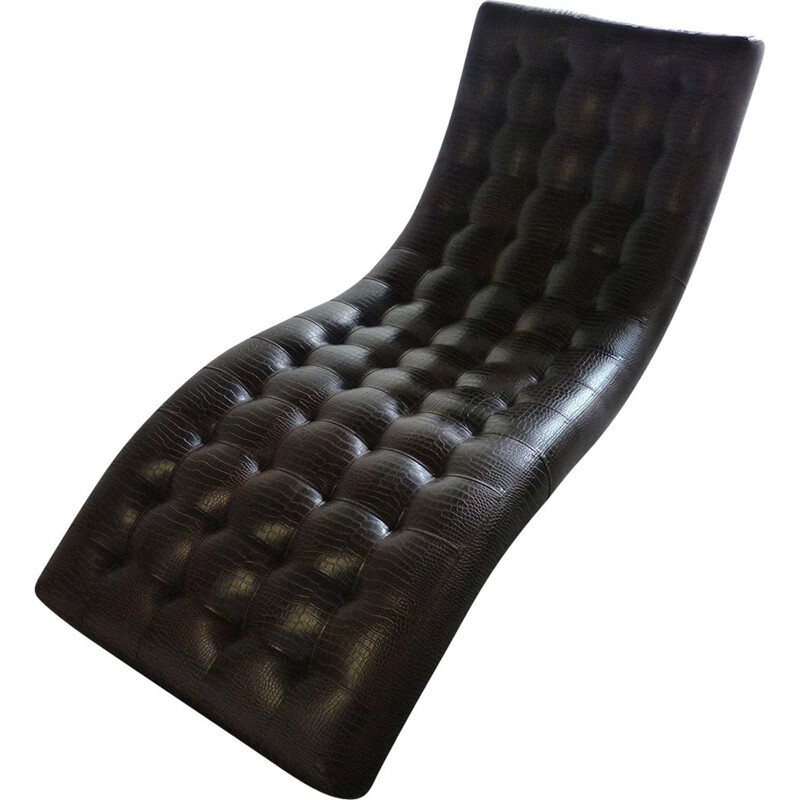 Vintage lounge chair in faux leather from the 60s