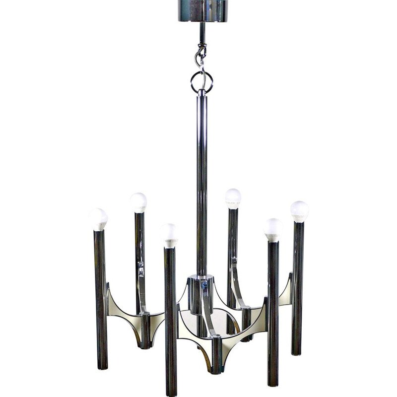 Vintage chromed chandelier by Sciolari 1970