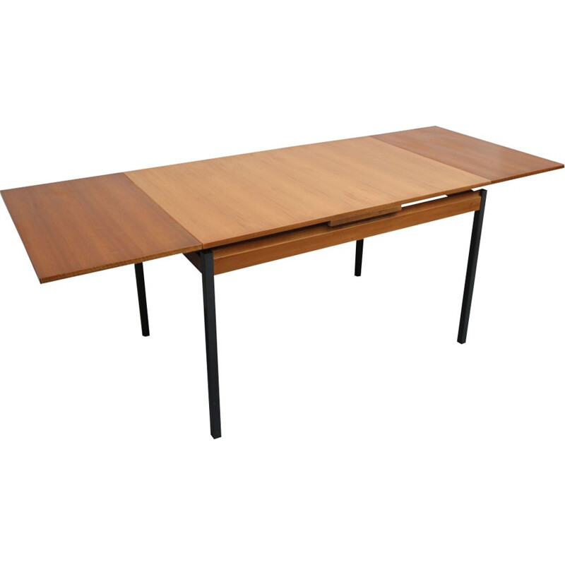 Vintage extensible dining table in teak and metal from the 60s