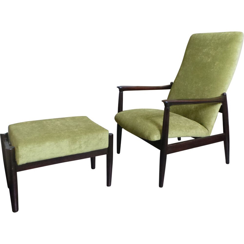 Green armchair with ottoman by Edmund Homa