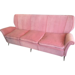 3 seater vintage sofa in brass and pink velvet - 1950s