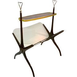 Mahogany and brass magazine rack, Cesare LACCA - 1950s