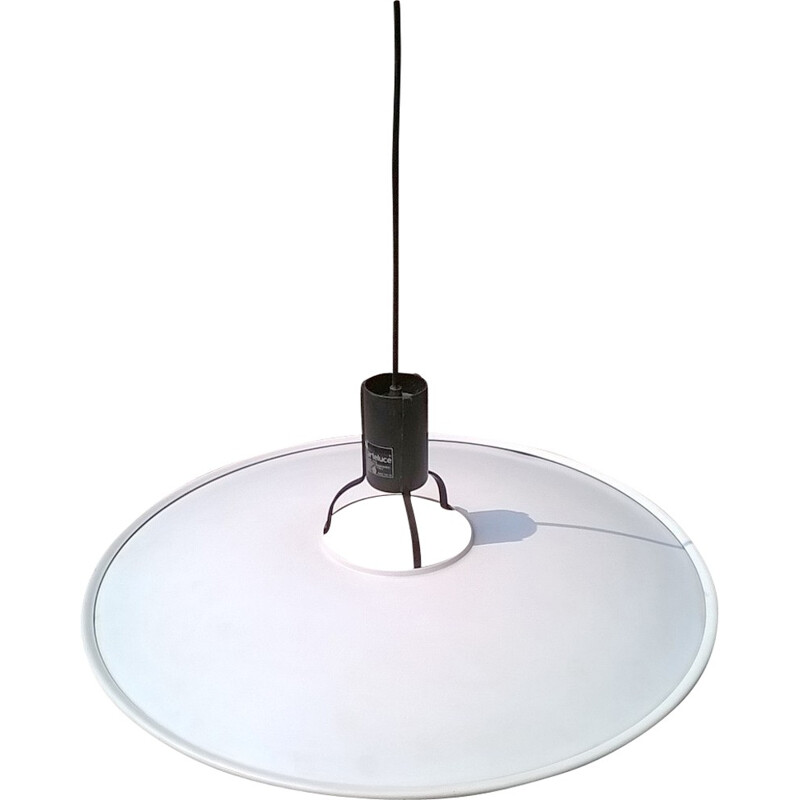 White lacquered metal hanging lamp, Gino SARFATTI - 1972