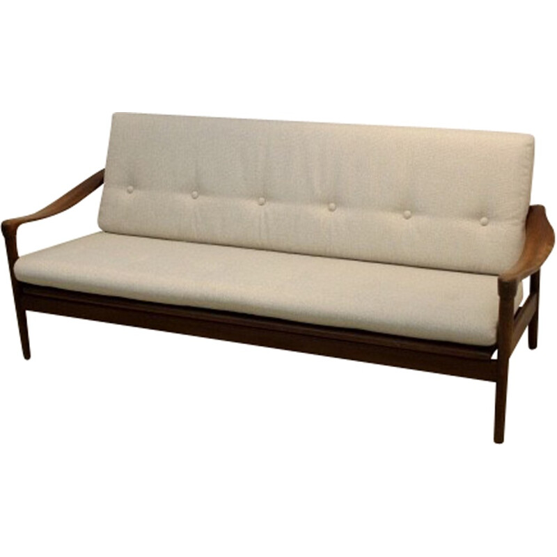 3 seat sofa in teak and beige fabric, Gelderland edition - 1960s