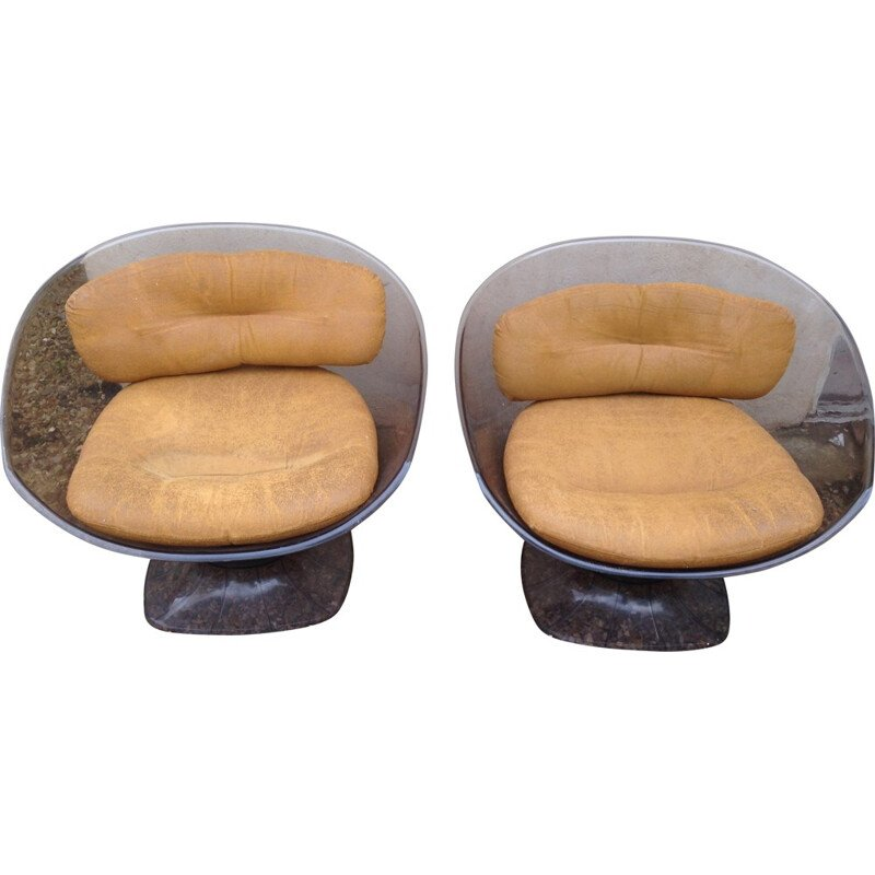 Pair of armchairs in plexiglass and leather, RAPHAEL - 1970s