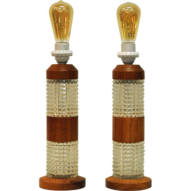 Pair of teak and glass table lamps