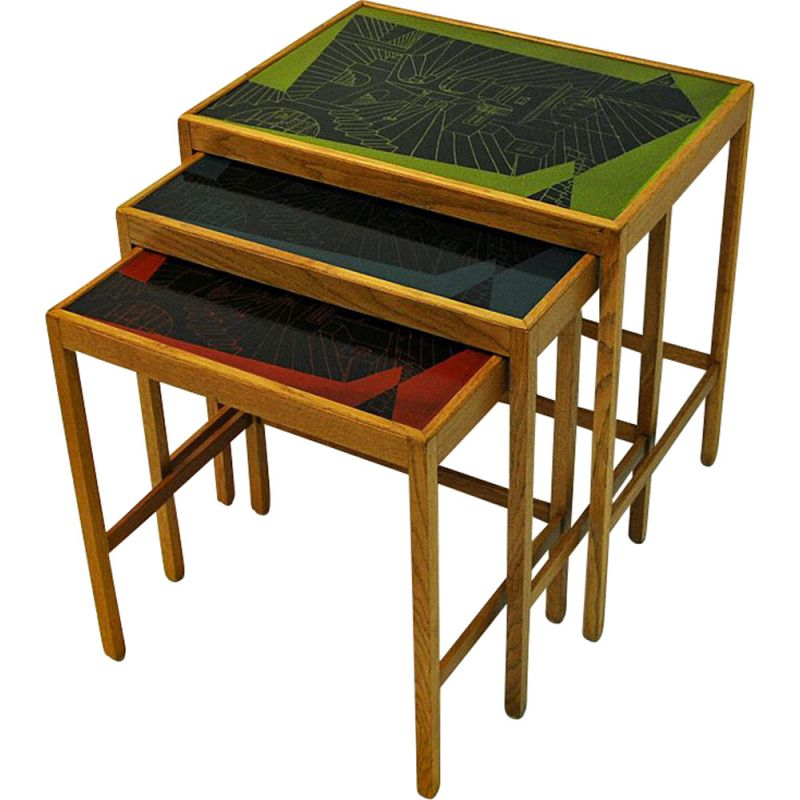 Set of 3 vintage nesting tables, David Rosèn, Sweden, 1953