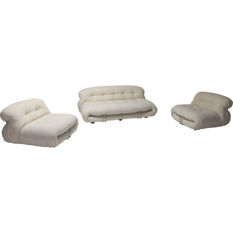 Set of 1 vintage Two-Seat Sofa and 2 lounge chairs Soriana by Afra e Tobia Scarpa for Cassina - 1970s