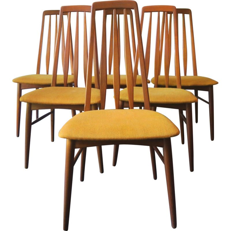 Set of 6 vintage Eva dining chairs by Niels Koefoed for Hornslet Møbelfabrik