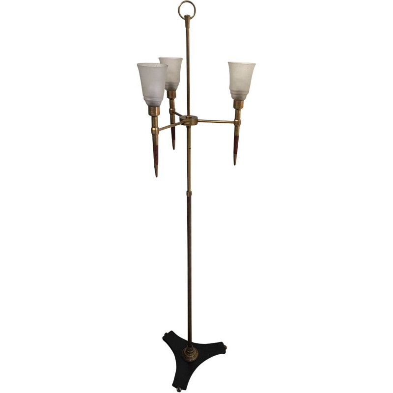 Vintage floor lamp in brass and teak Monix Paris 1960