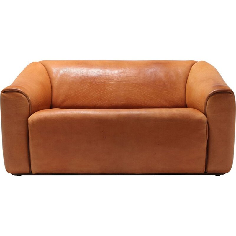 Vintage 2-seater sofa in cognac Leather De Sede DS 47 - 1970s