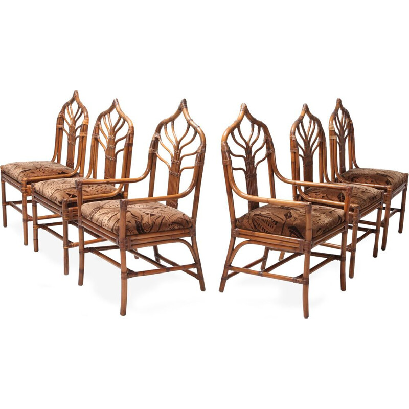 Set of 6 vintage dining chairs in bamboo with Floral Cushions Regency Italian  - 1960s