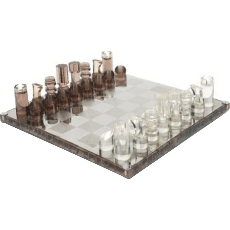 Vintage chess set by Michel Dumas 1970 in resin, steel and Altuglas 1970s