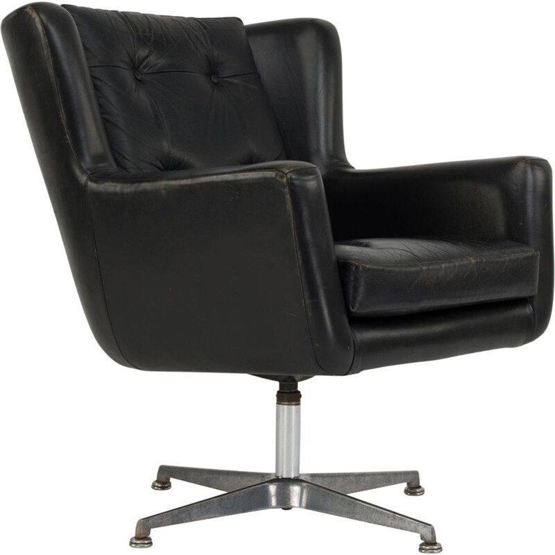 Vintage Danish office armchair in black leather by Skjold Sorensen