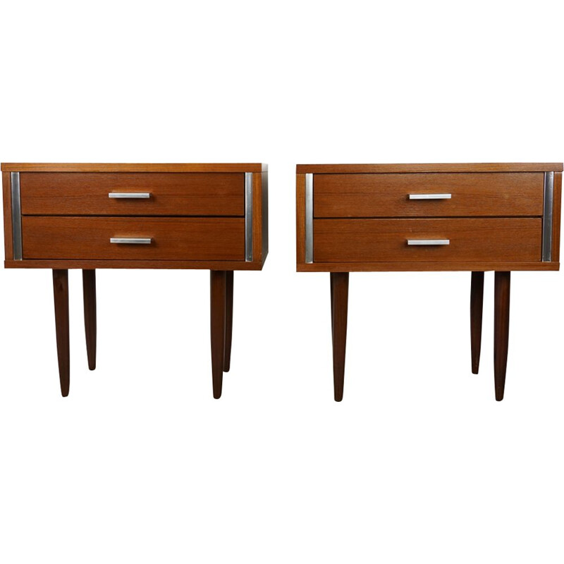 Vintage set of night stands in teak from the 50s