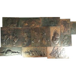 Set of 15 Misakabo reliefs in copper - 1930s