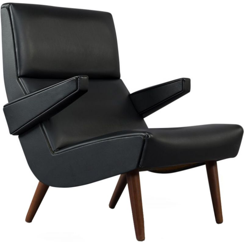Vintage Danish  armchair in black leather from  1970
