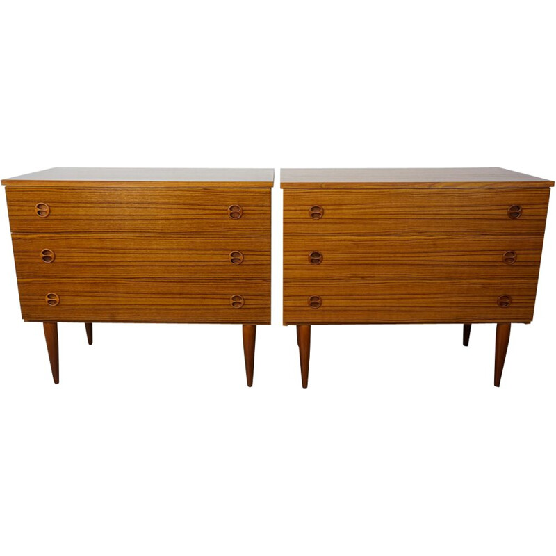 Set of 2 vintage chests of drawers in teak 60s