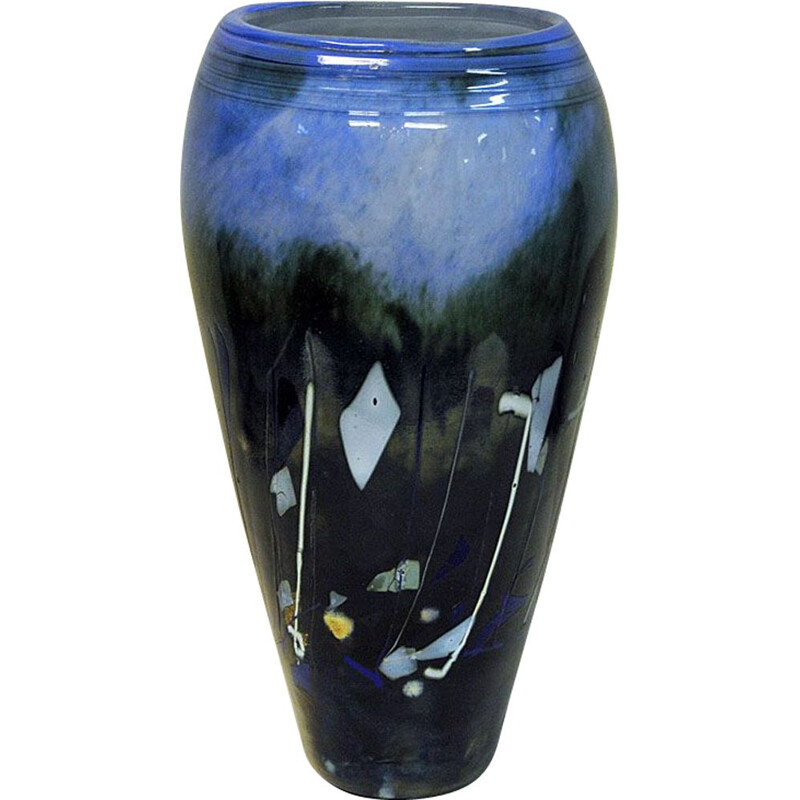 Vintage vase, Large Blue glazed glass by Maud Gjeruldsen Bugge, Norway, 1980s