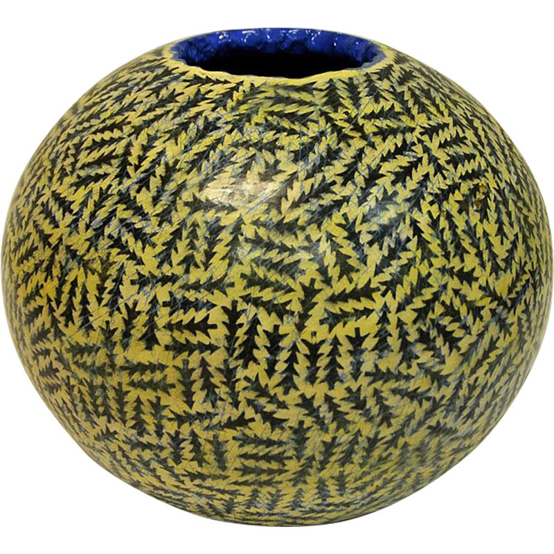 Vintage vase in ceramic, Round, Skog by Tor Alex Erichsen, Norway, 1991