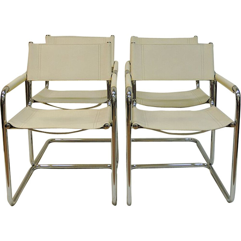 Set of 4 vintage chairs in white Leather  by Linea Veam, Cantilever, Italy, 70s 80s