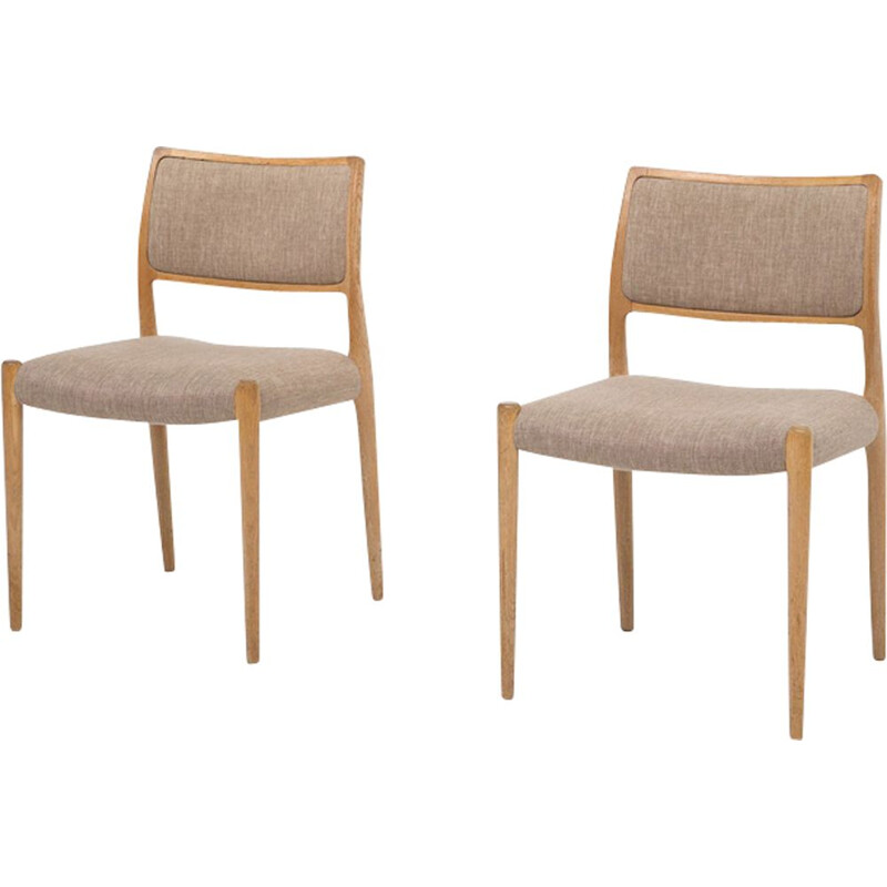 2 vintage dining chairs in teak model 80  by Niels Otto Møller,1960